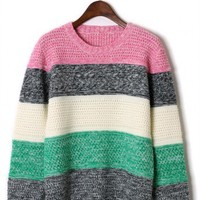Color Block Lambswool Sweater by Chic+ - Retro, Indie and Unique Fashion