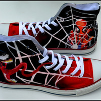 Custom Mens Shoes, Custom Spiderman Shoes, Mens Spiderman Shoes, Painted Chucks, Hand Painted Chuck Taylors, Custom Converse
