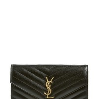 Women's Saint Laurent 'Small Mono' Leather Wallet on a Chain