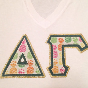 Custom Pineapple sorority greek letter tee