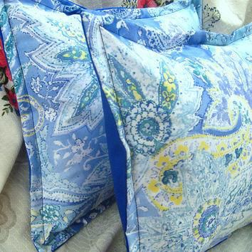 Pair Custom Made BOUDOIR Pillow Shams - Ralph Lauren Fabric - JAMAICA BLUE Paisley
