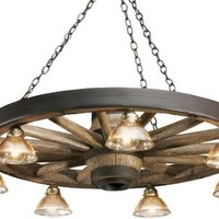 Rustic Lodge Reproduction Wagon Wheel Chandelier with Down Lights Zoom : Cabela's