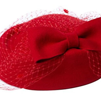 Coxeer® British Women's Fascinator Pillbox Hat Veil for Cocktail Party Wedding (Red)