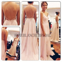 Custom made dress with spaghetti strap /chiffon prom/Openback prom/backless dresssimple dress/long prom dress/party dress/junior dress