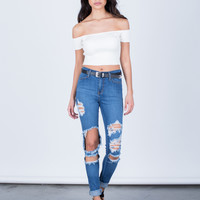 High Waisted Cuffed Denim Jeans