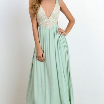 Alemaria Romance Wrap Maxi Slip Dress - Mint