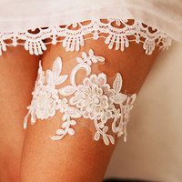 Bridal Garter Wedding Garter Keepsake Garter - Beaded Flower Lace Garter - Ivory Garter Belt