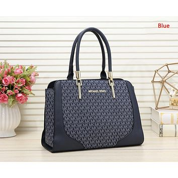 MK Michael Kors Fashion New More Letter Print Leather Shopping Leisure Shoulder Bag Women Handbag Blue