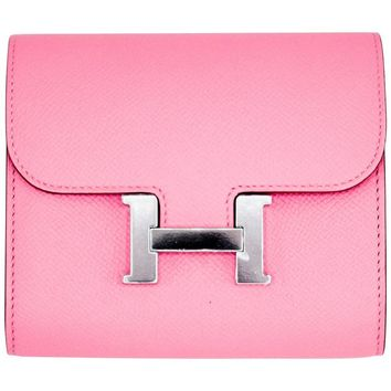 Hermes Constance Compact Wallet Rose Confetti Epsom Palladium