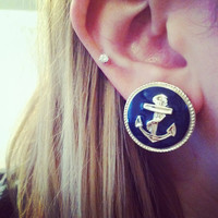 Vintage Anchor Navy Blue and Gold Earrings by LexiLust on Etsy