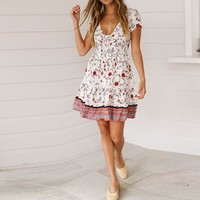 Summer Fashion Party Dress Women Casual Vintage Bohemia Print V Neck Button National BohoStyle Mini Dress Women Clothes 2019