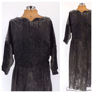 Plus Size Vintage 1960s Silver Metallic Lame Mod Midi Dress Glam Cocktail Dress Size Large XL Groovy 60s Motown Diva Dress Sparkly Gown
