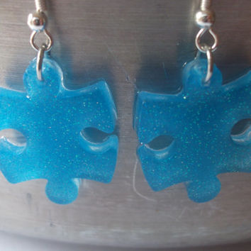 Autism Awareness Puzzle Piece Resin Dangle French Hook Earrings, Autism Jewelry, Light Blue Glitter