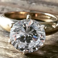 A Perfect 4CT Round Cut Tiffany Style Russian Lab Diamond 14K Yellow Gold Engagement Ring