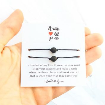 Couple Bracelet, Lava Bead Bracelet, His and Her Bracelet, Boyfriend Gift, Boyfriend Girlfriend Bracelet