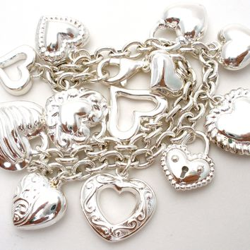 JCM Sterling Silver Charm Bracelet with Hearts