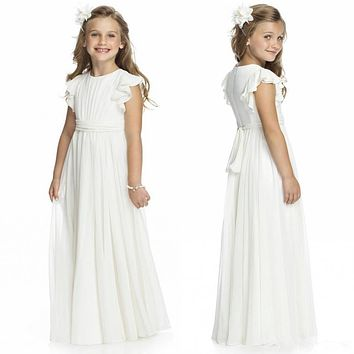 Holy Flower Girls Dresses for Wedding and Party Long Chiffon Ruffles Girls Wear In Stock Baby First Communion Bridal Girls Gowns