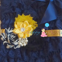 Nautical Gold Navy Flower sash/ Wedding Bridal Flower Sash