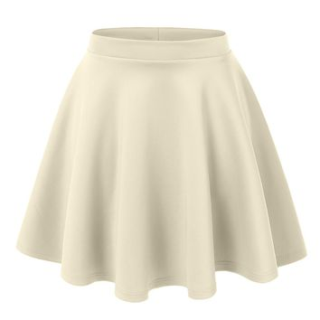 Day-First™ LE3NO Womens Basic Versatile Stretchy Flared Skater Skirt