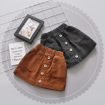 New Brand Baby Girls Skirt Autumn Winter Toddler Children Corduroy Skirts Cotton Gray Velvet Skirt Kids Clothes Drop Shipping
