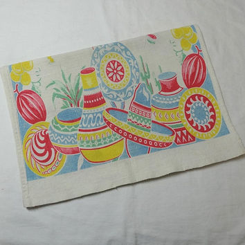 1950s Vintage Cotton Print Kitchen Towel in Mexican Fiesta Theme, 14 x 37 In., Colorful Sombreros, Pots, Cacti, Fruit, Vintage Linens, Decor