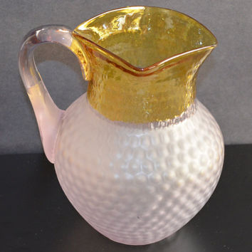 Francesware Honeycomb Pitcher / Hobbs France Ware Pitcher / Inverted Honeycomb Pitcher / Rare Art Glass Pitcher / Victorian Glass