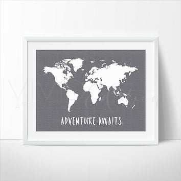 Adventure Awaits World Map, Gray