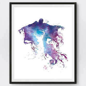 Dementor, Watercolor, Patronus, Harry Potter, Art Print, Kids Room Decor, Avada Kedavra, Magic, Watercolor, Painting, Poster, Gift, Download