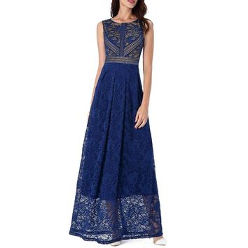 Womens Floral Lace Patchwork See Through Hem Pleated Formal Evening Gown Wedding Prom Party Maxi Long A-Line Dress 2377