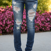 Rapid Rivers Distressed Machine Jeans