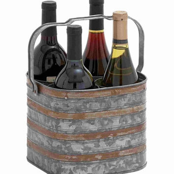 Benzara Preston Perfectly Galvanized Aesthetic Bottle Holder Bar Decor
