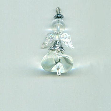 glass bead angel pendant angel charm bead drop handmade clear #supply2060