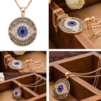 Fashion Woman Jewelry Blue Eyes Turkish Evil Eye 18K Gold Necklace Female