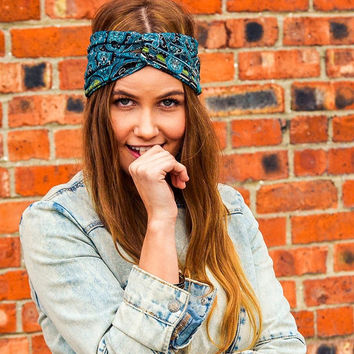 Cyber Monday SALE Paisley Turban Headband Blue Yoga Headband Hair Band  Turban Headband Headwrap Floral Yoga Workout Twisted Band Headpiece