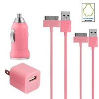 Amazon.com: Pink Car Charger Bundle USB Data Cable + Wall Charger for Apple iPhone 2 / 3G / 3GS / 4 & 4S / iPods (Nano/Touch/Video): Cell Phones & Accessories