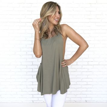 Split Path Jersey Top in Olive