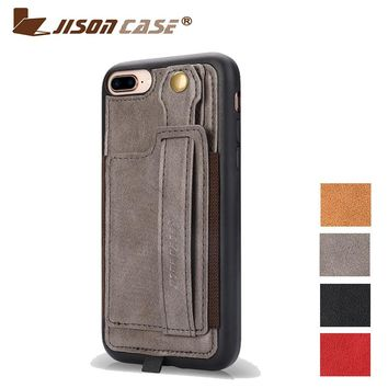 "Jisoncase Leather Case For iPhone 8plus 5.5"" With Card Slot and Lanyard Design Vintage Luxurious Fashion Plain Phone Cases"