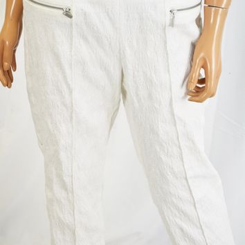 Style&Co Women White Textured Pull-On Jacquard Capri Cropped Pant M