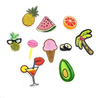 10PCS hot embroidery patches applique iron on fruit food drinks patches for clothing iron-on transfer patch stickers for clothes