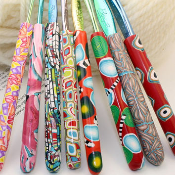Polymer clay crochet hook set of 8, New Boye hook set, Sizes D/3 through K/10.5, handmade designs