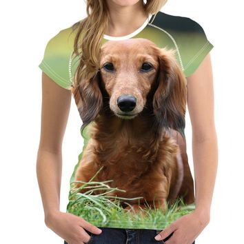 Dachshund All-Over-Print Dog T-Shirt - Ladies Tops