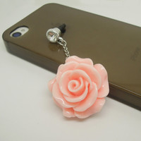 1PC Resin Rose Flower Cell Phone Earphone Jack Antidust Plug Charm for iPhone 5,5s,Samsung S3,S4 Zodiac Birthday Gift Friend Gift