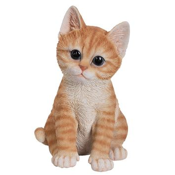 Realistic and Cute Orange Tabby Kitten Collectible Figurine Amazing Detail Glass Eyes Hand Painted Resin Life Size 8 inch Figurine Perfect for Cat Lover Collectible