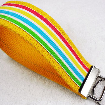 Keychain Wristlet Keyfob Keylette Key Ring - Stripes Striped Grosgrain Ribbon Webbing Yellow Green Red Blue - Porte-clés - Ready to ship