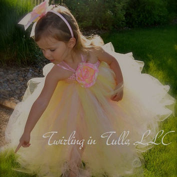 Flower Girl Dress Pink and Pale Yellow Tulle Flower Girl Dress Size 2-4T
