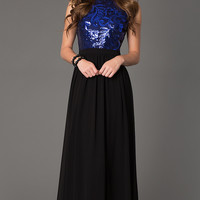 Sleeveless Open Back Floor Length Gown