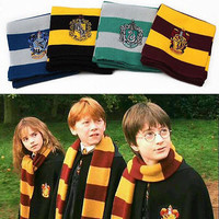 Gryffindor, Hufflepuff, Slytherin, and Ravenclaw House Scarves