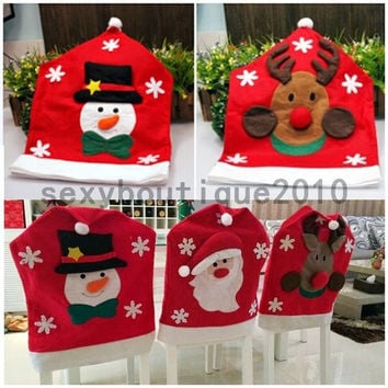 Santa Claus Elk Snowman Christmas Decorative Ornaments Kitchen Chair Covers New = 1946427076