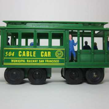 Vintage 1950's San Francisco Green Plastic Friction Toy Cable Trolley Car Souvenir with Working Bell, Municipal Railway Made in Hong Kong