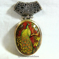 Hand Painted Cameo Peacock  Pendant 925 Sterling Silver Carnelian Gemstone Artist Signed Original Art Jewelry Gift
